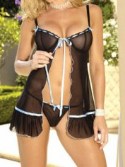 Sheer Pleasure Black Mesh Babydoll