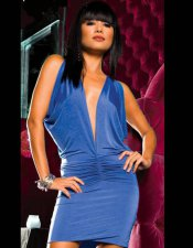 Blue V Neck Dress