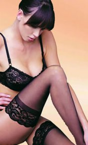 Black Stockings With Lace Trim